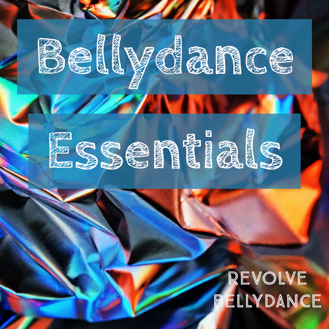 Colourful texture with Bellydance Essentials title on it.